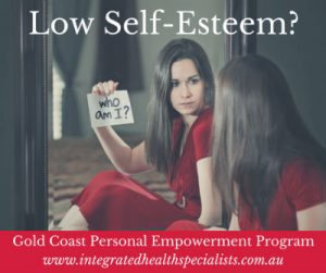 Low self-esteem program Gold Coast - woman looking in mirror questioning her identity