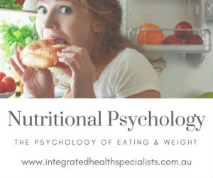 Nutritional Psychology - psychology of eating & weight, woman binge eating in fridge