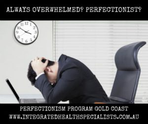 Perfectionsim program Gold Coast - always overwhelmed, man stressed at his desk and computer