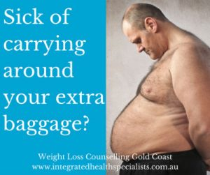 Weight Loss Counselling Gold Coast - sick of carrying around your extra baggage? Overweight man